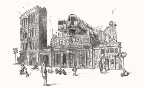 A drawing of Tube trains in Shoreditch London