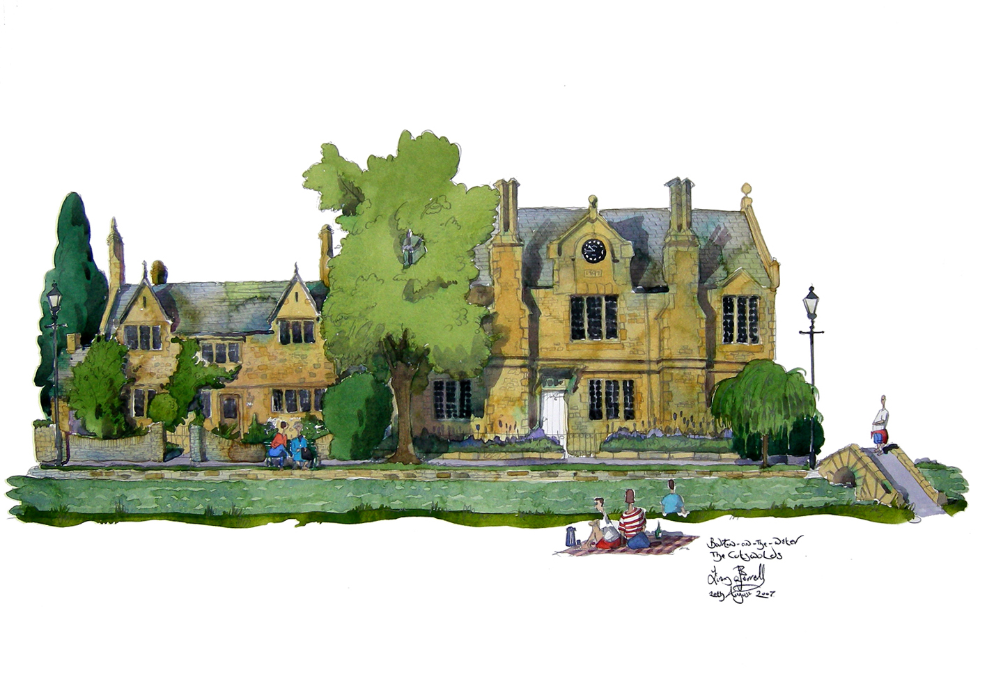 a painting of Bourton on the Water