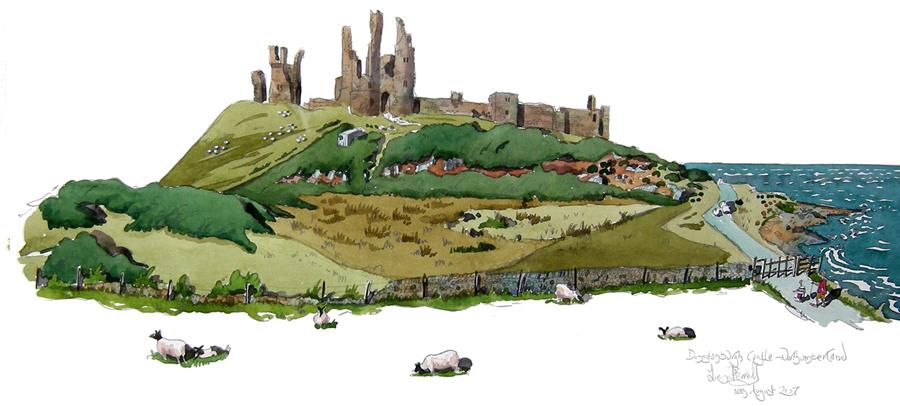 Dunstanburgh Castle painting