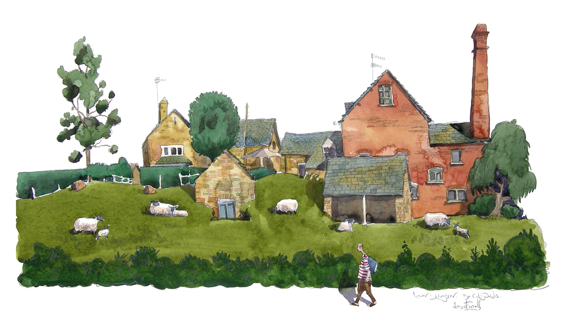 a painting of   Lower slaughter art