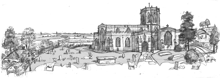A drawing  of North Curry Church