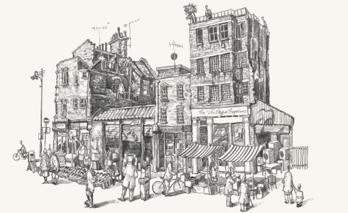 A drawing of Bacon Street market, Shoreditch , London