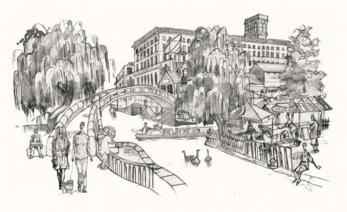 A drawing of Camden Market
