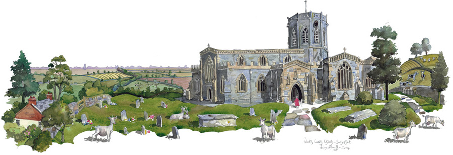 A painting of North Curry Church