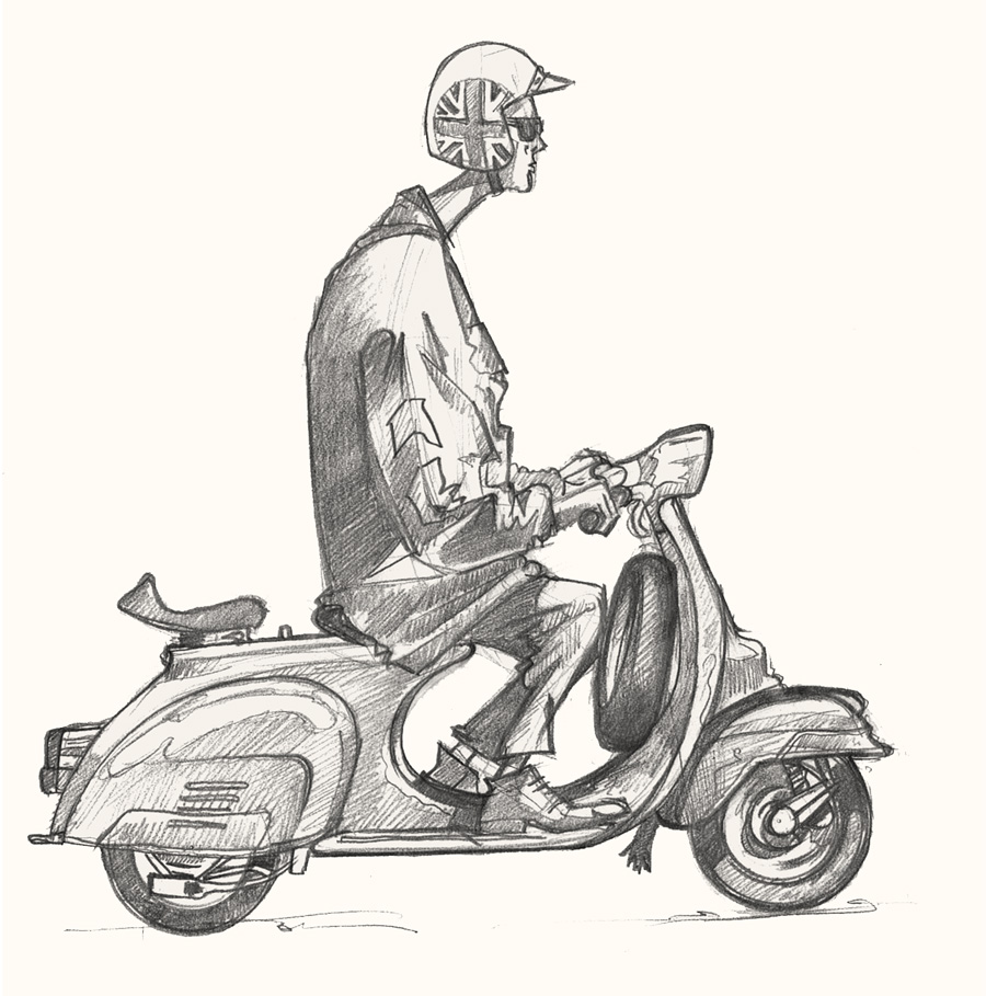 Drawing of a Mod on a Vespa