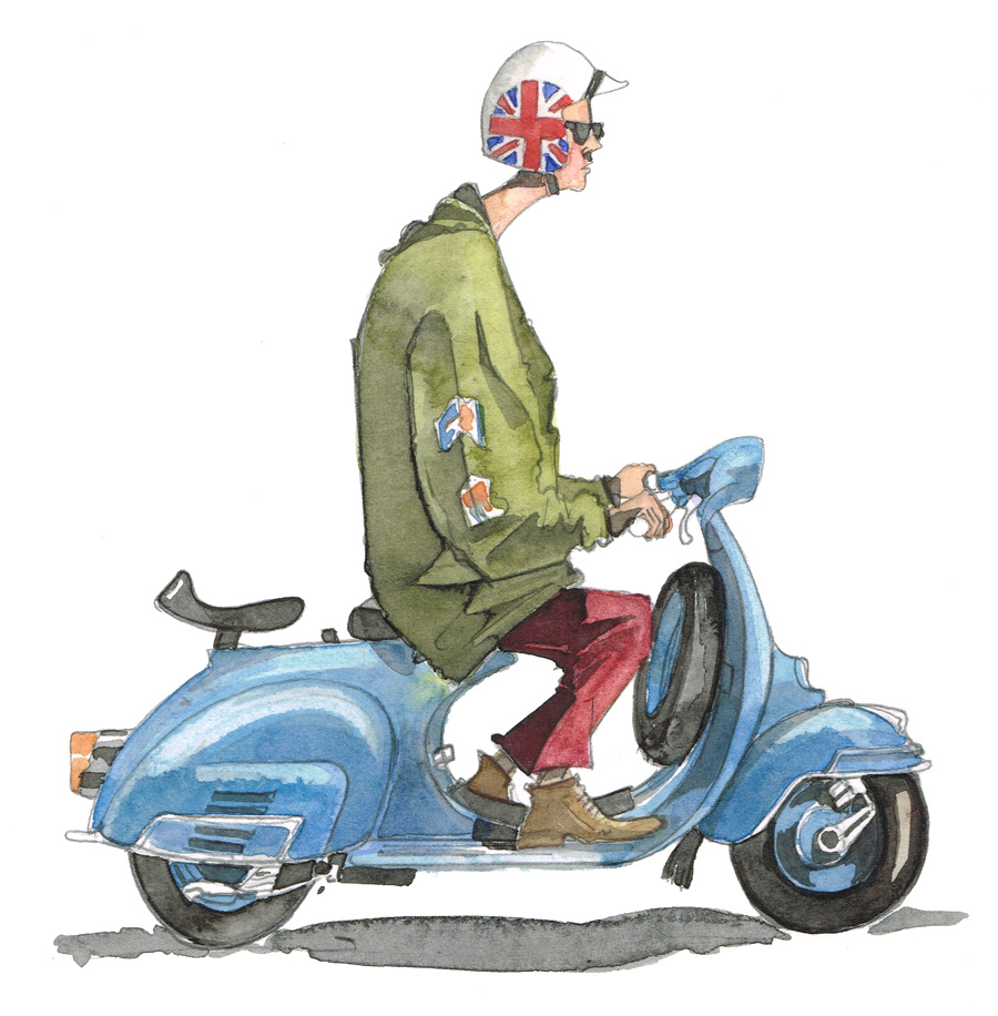 Painting and drawing of a Mod on a Vespa NOT a Lambretta or Scooterboy