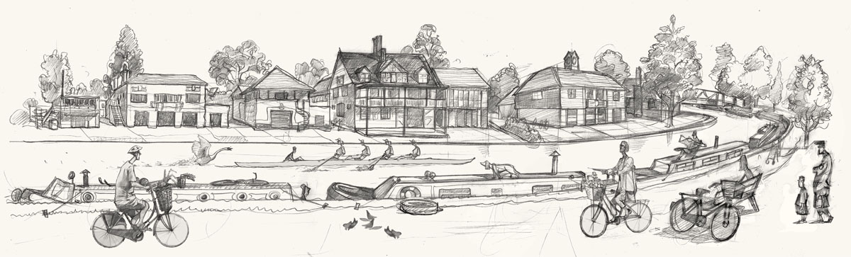 A drawing of the Cambridge boat houses