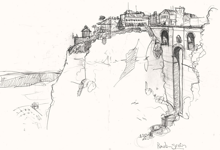 A drawing of Ronda, Spain
