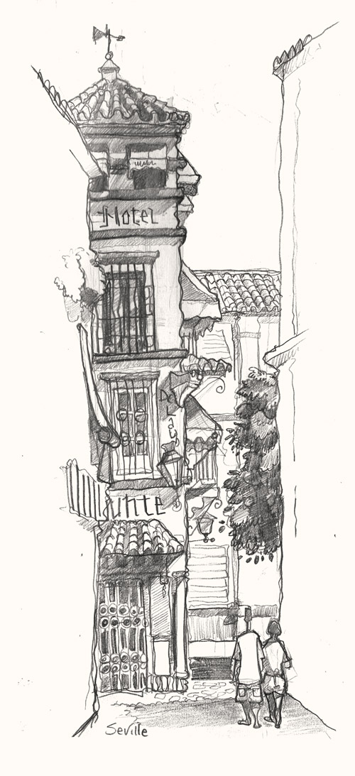 A drawing of Plaza Venerables square, Seville