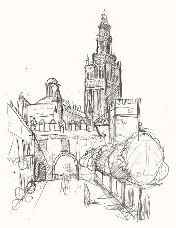 A drawing of The Giralda, Seville