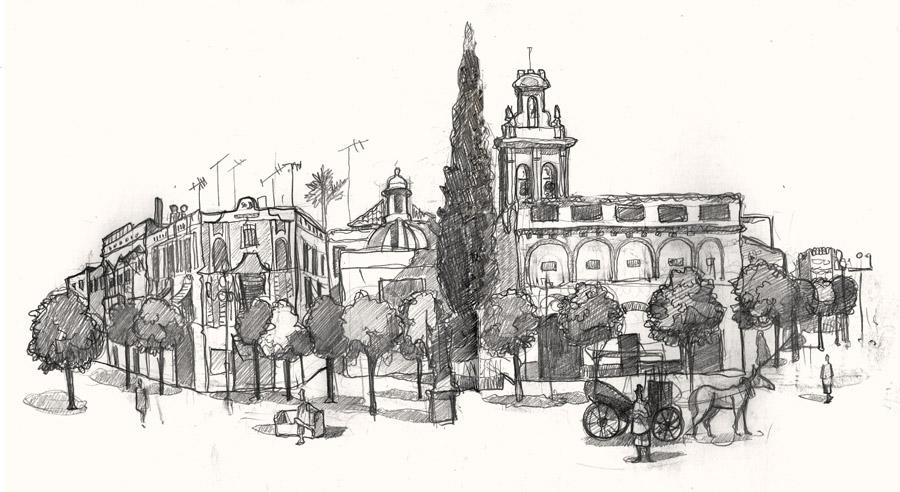 A drawing of Plaza Virgen de los Reyes square,Seville