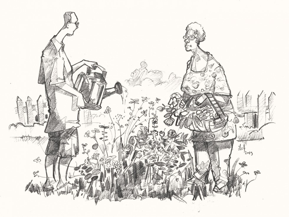 a drawing of gardeners