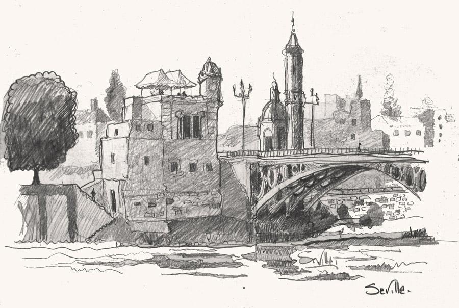 A drawing of Plaza Triana Bridge, Seville