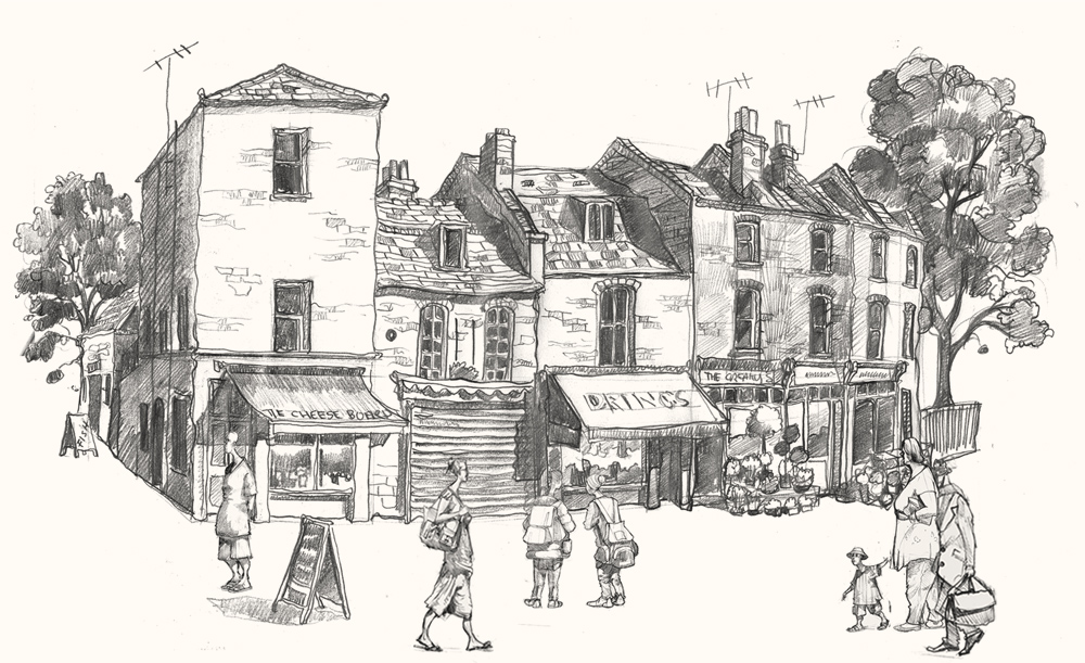 Drawing of The Richard 1st pub on Royal Hill, Greenwich