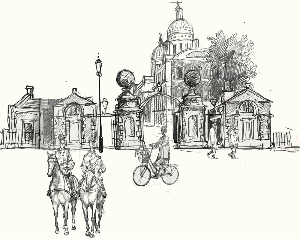 A drawing of the Old Naval College, Greenwich