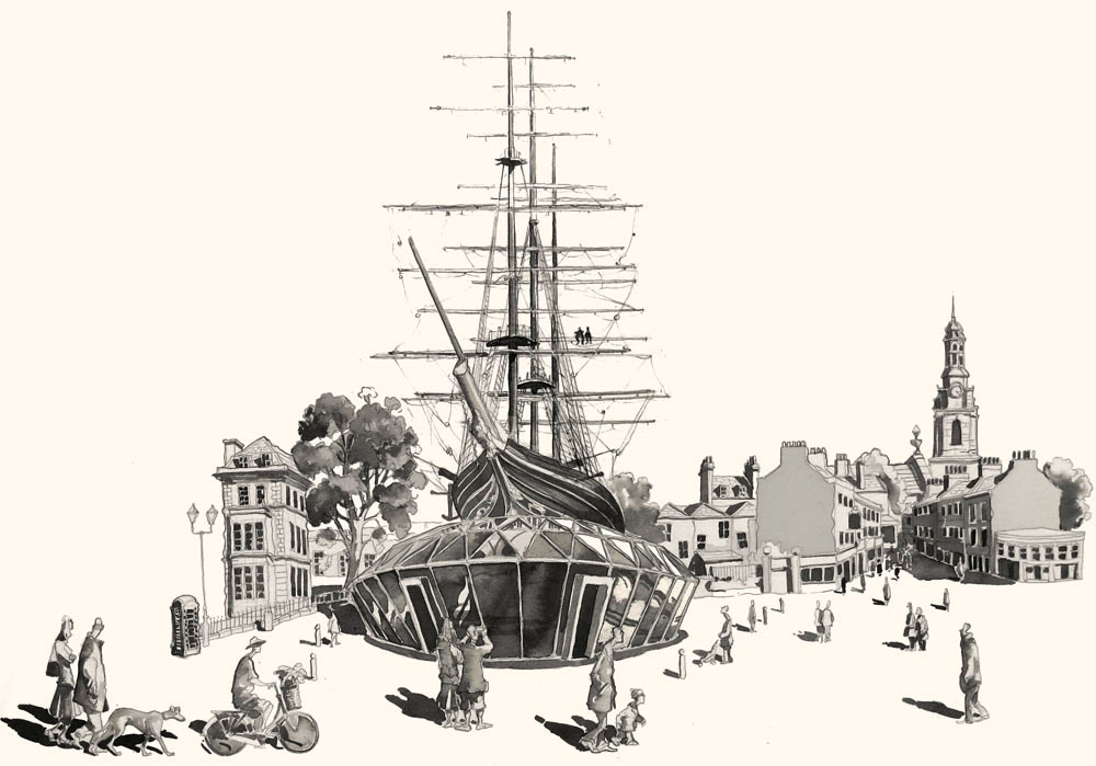 Pen and ink of the Cutty Sark