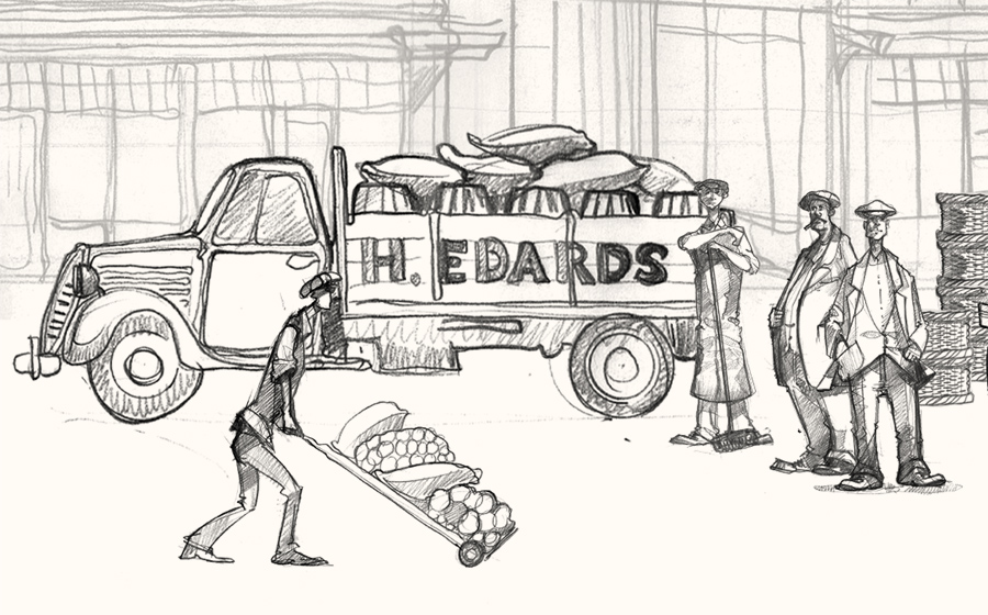 A drawing of workers at Spitalfields market