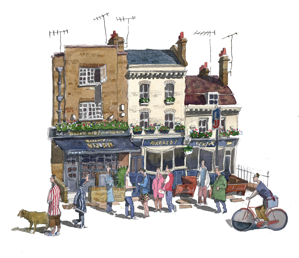 A painting of The Richard 1st pub on Royal Hill, Greenwich
