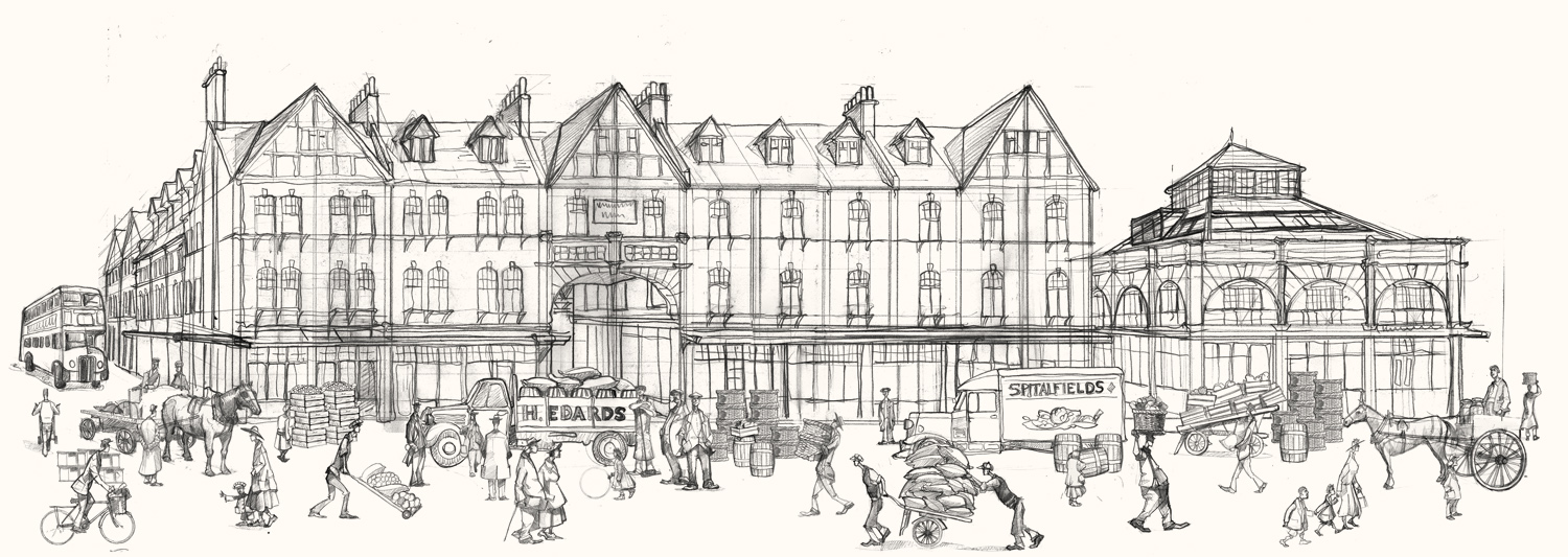 A drawing of Spitalfields market