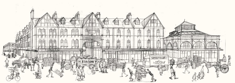A drawing of Spitalfields market