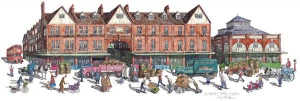 A painting of Spitalfields Market