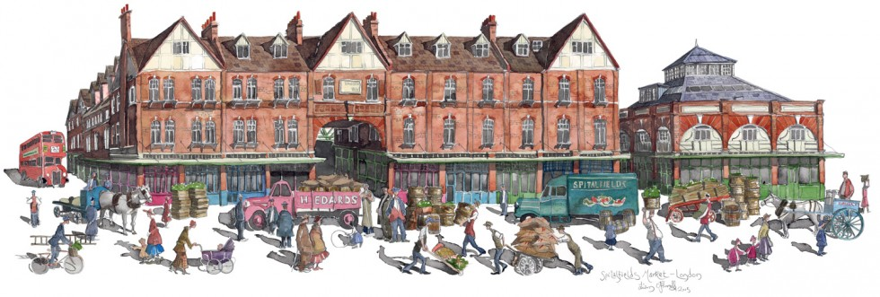 A painting of Spitalfields Market