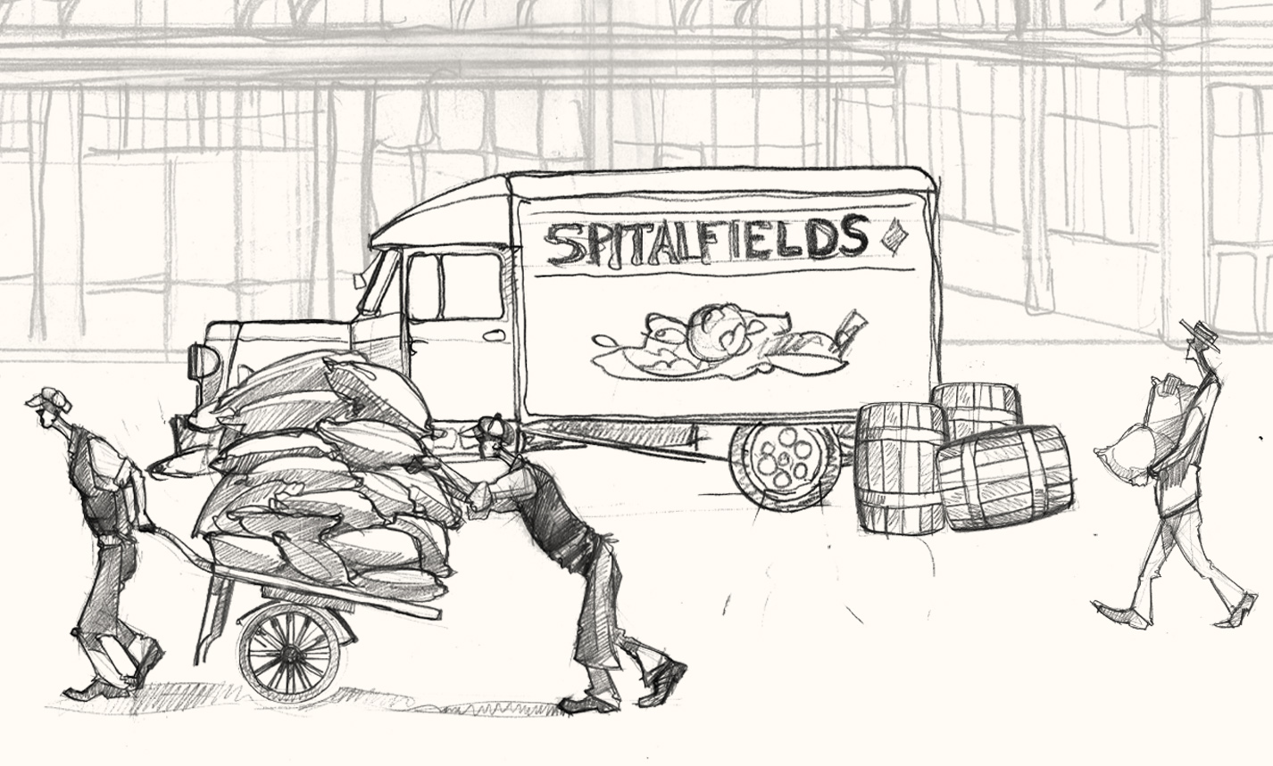 A drawing of a lorry at Spitalfields market