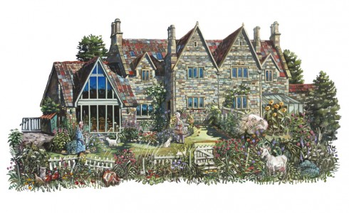 Painting of a house in Somerset