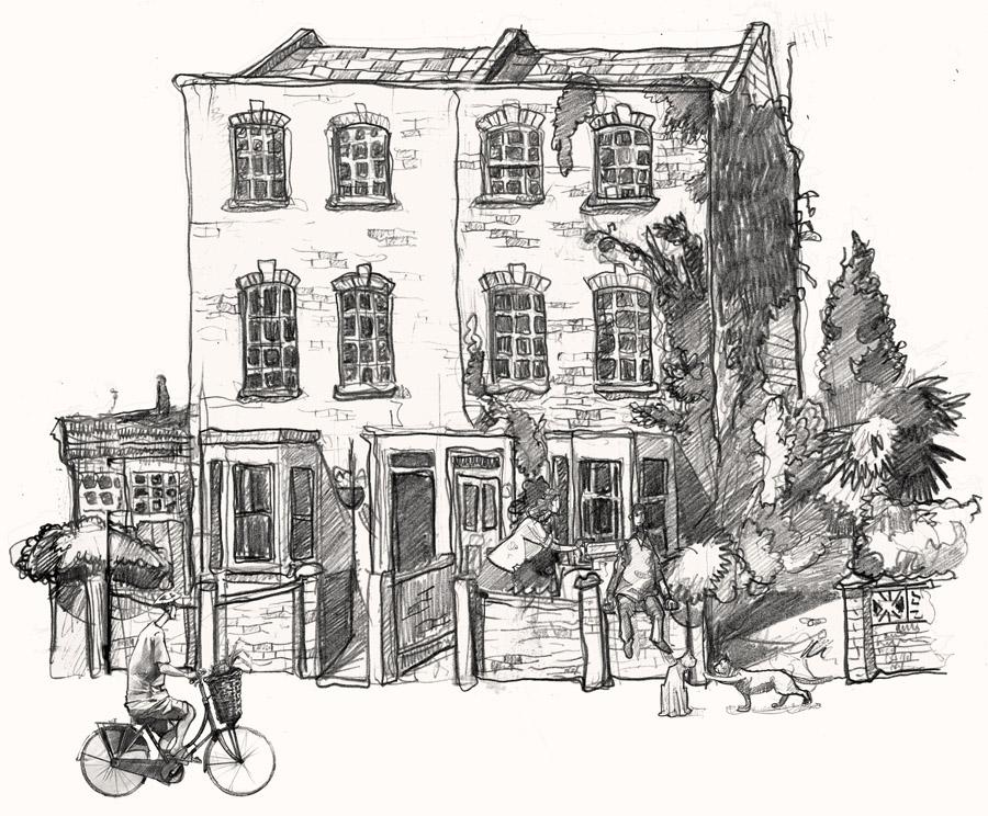 A drawing of London Fields Hackney