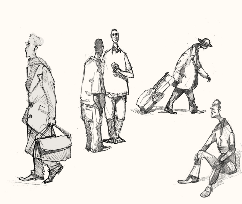 Drawing of Commuters at Liverpool Street