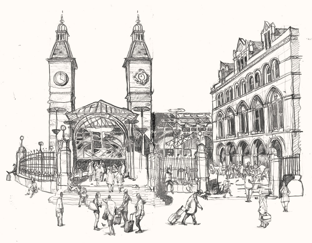 Drawing of Liverpool street station