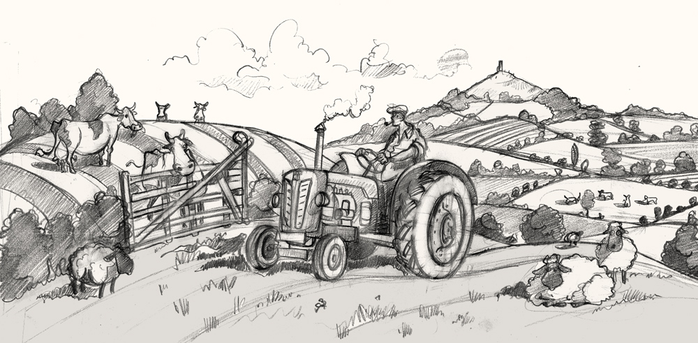 A drawing of a tractor in Pilton