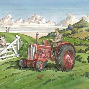 A painting of a tractor in Pilton