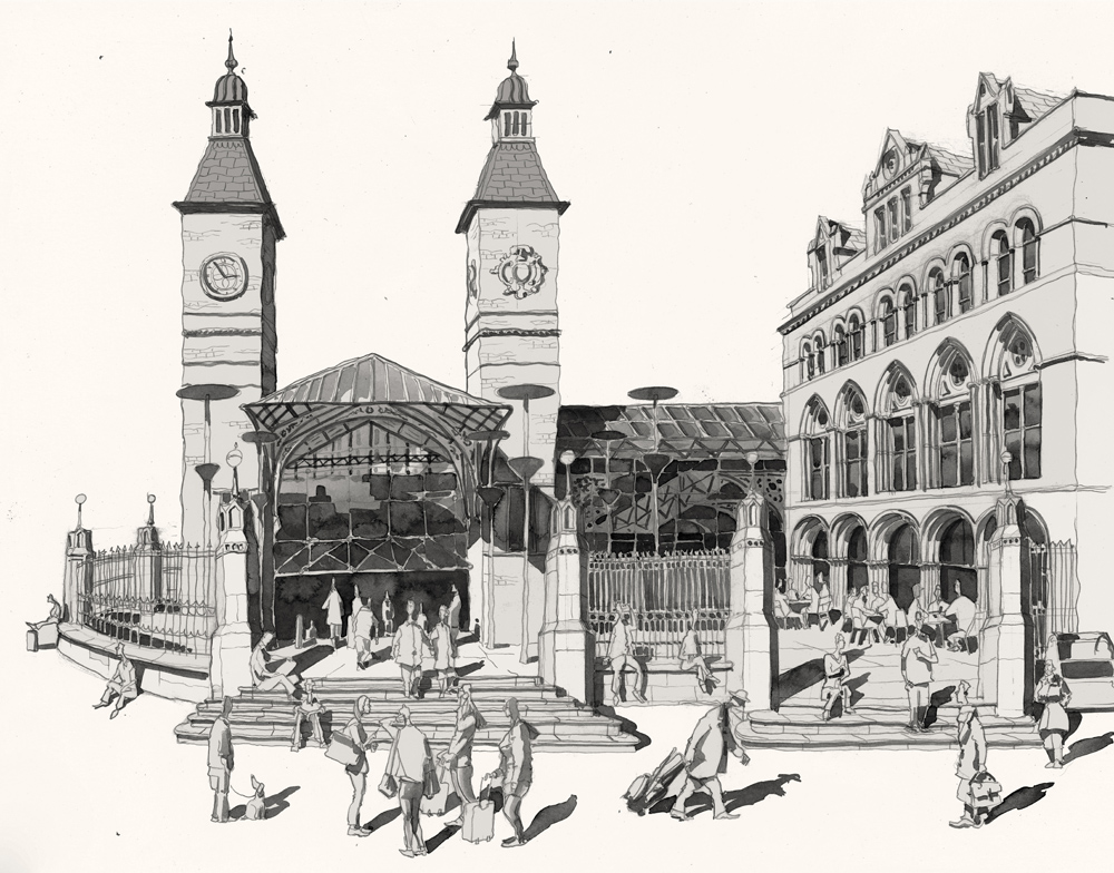 Pen and ink of Liverpool Street station