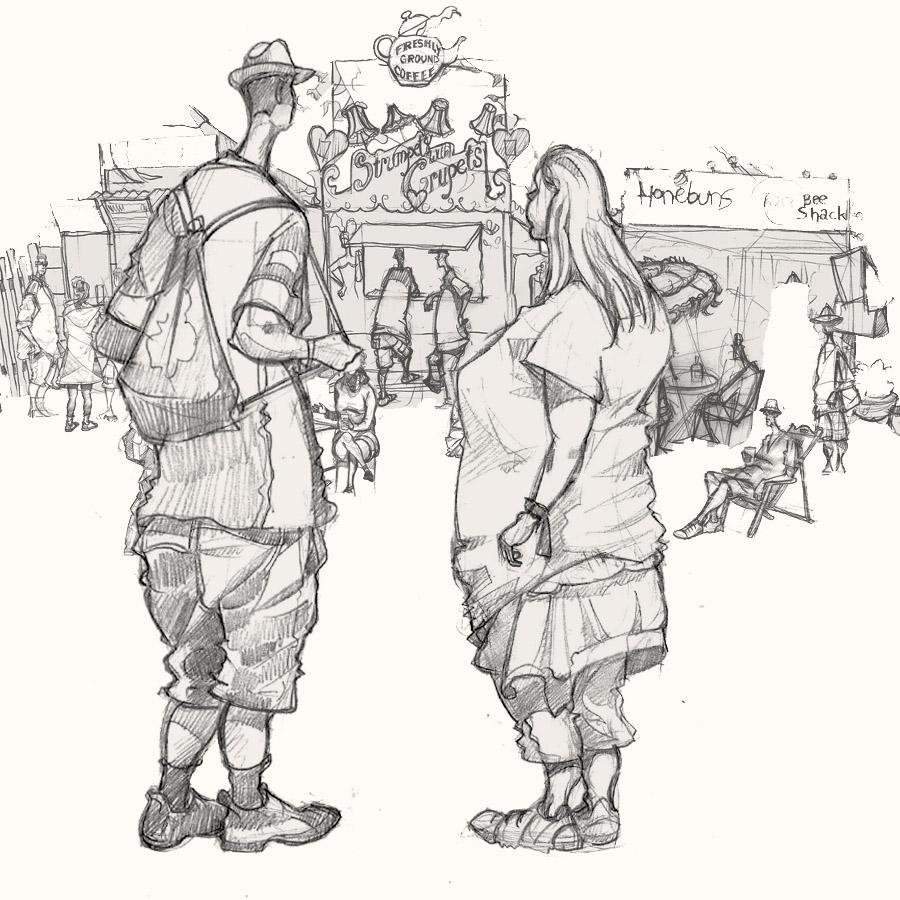 people at the glastonbury festival