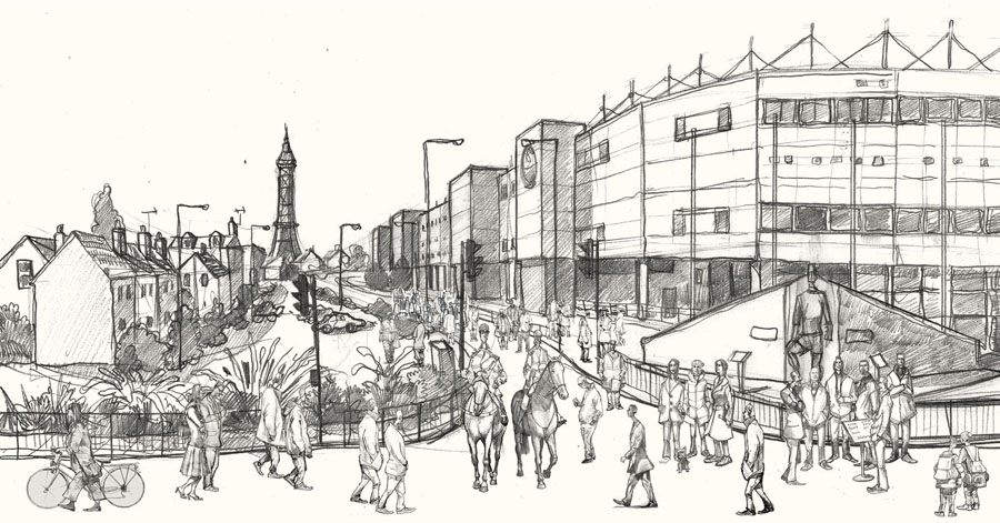 A drawing of Blackpool Football stadium