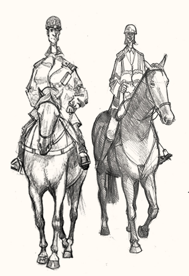 Blackpool mounted  police drawing