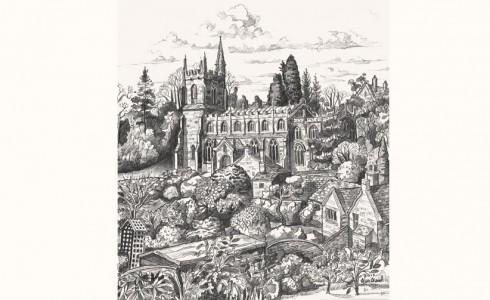 Drawing of Pilton Church