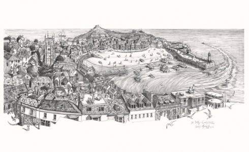 Drawing of a view of St Ives