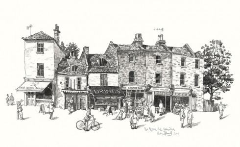 Drawing of shops in greenwich