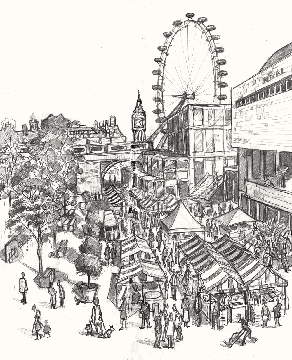 A painting of Southbank Centre Market