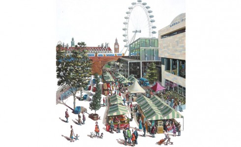 A painting of the Real Food Market London