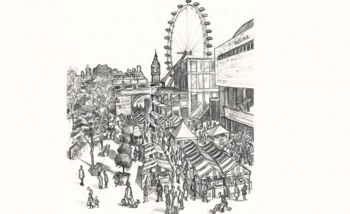 A drawing of the Real Food Market London