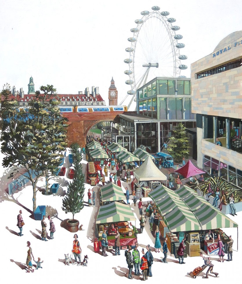 A painting of the Southbank Centre Market