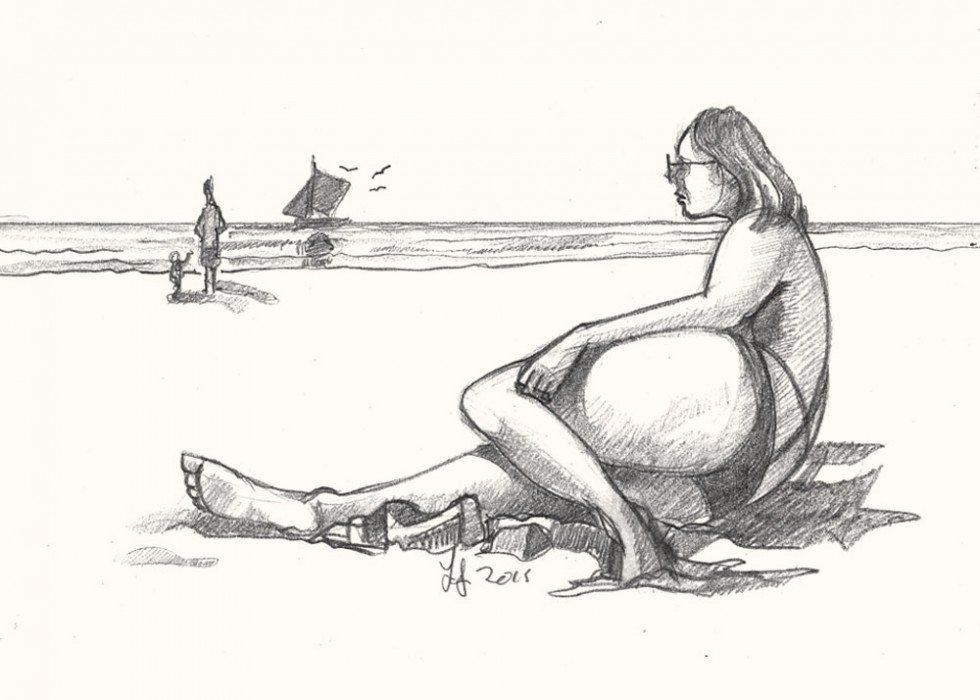 A drawing of a women on beach