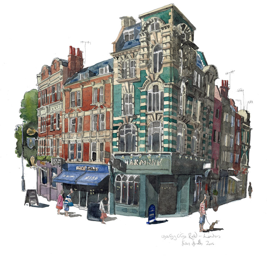 A painting of Charing Cross Road, Soho