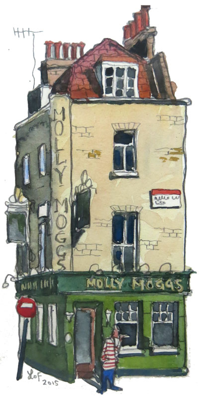 A painting of Molly Moggs, Soho