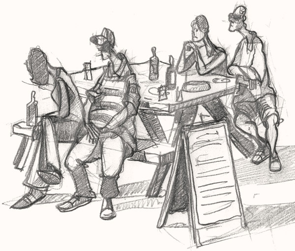 A drawing of Pub Goers in a Cornwall Inn