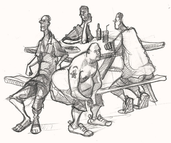 A drawing of Pub Goers in Cornwall