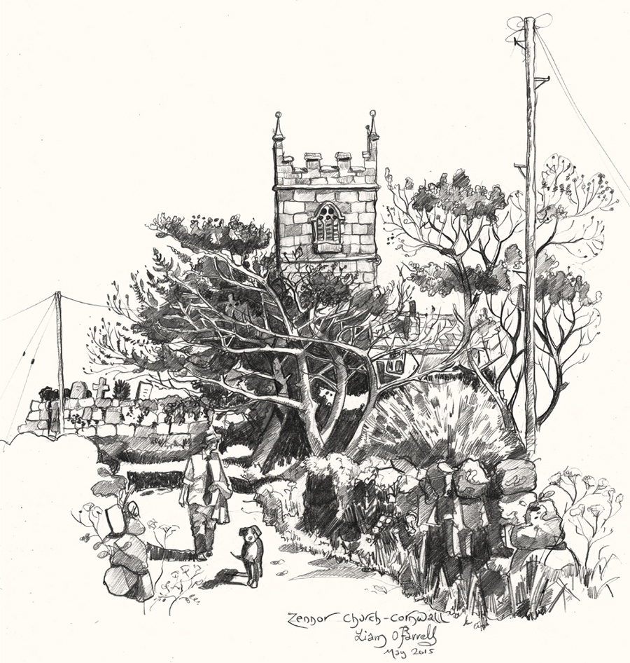A drawing of Zennor Church, Cornwall